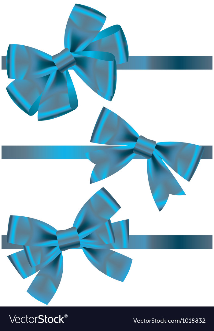 Set of different types of blue satin ribbons with vector | Price: 1 Credit (USD $1)