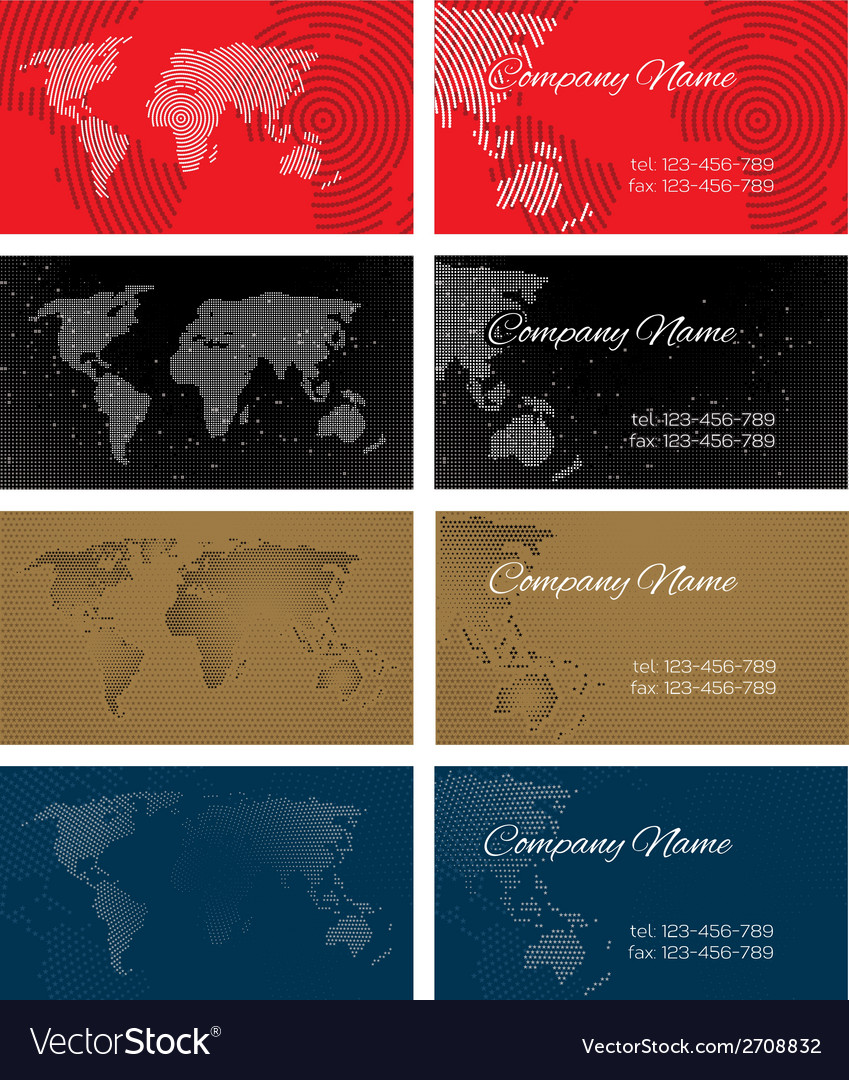 Set of halftone bussines cards with continents for vector | Price: 1 Credit (USD $1)