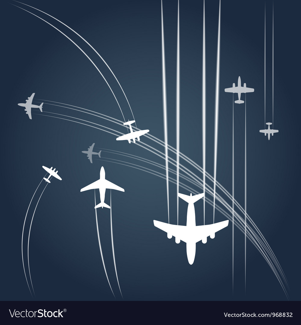 Transport and civil airplanes paths vector | Price: 1 Credit (USD $1)