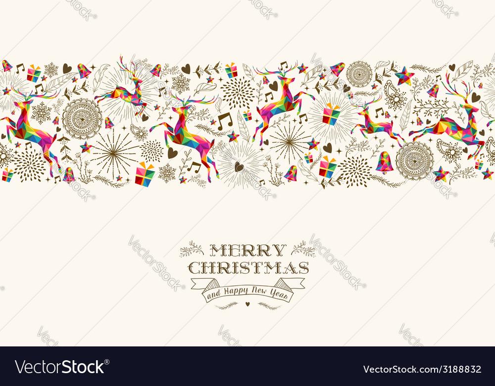 Vintage christmas reindeer seamless pattern vector | Price: 1 Credit (USD $1)