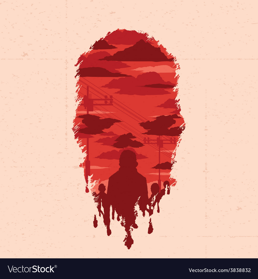Zombie head silhouette vector | Price: 3 Credit (USD $3)