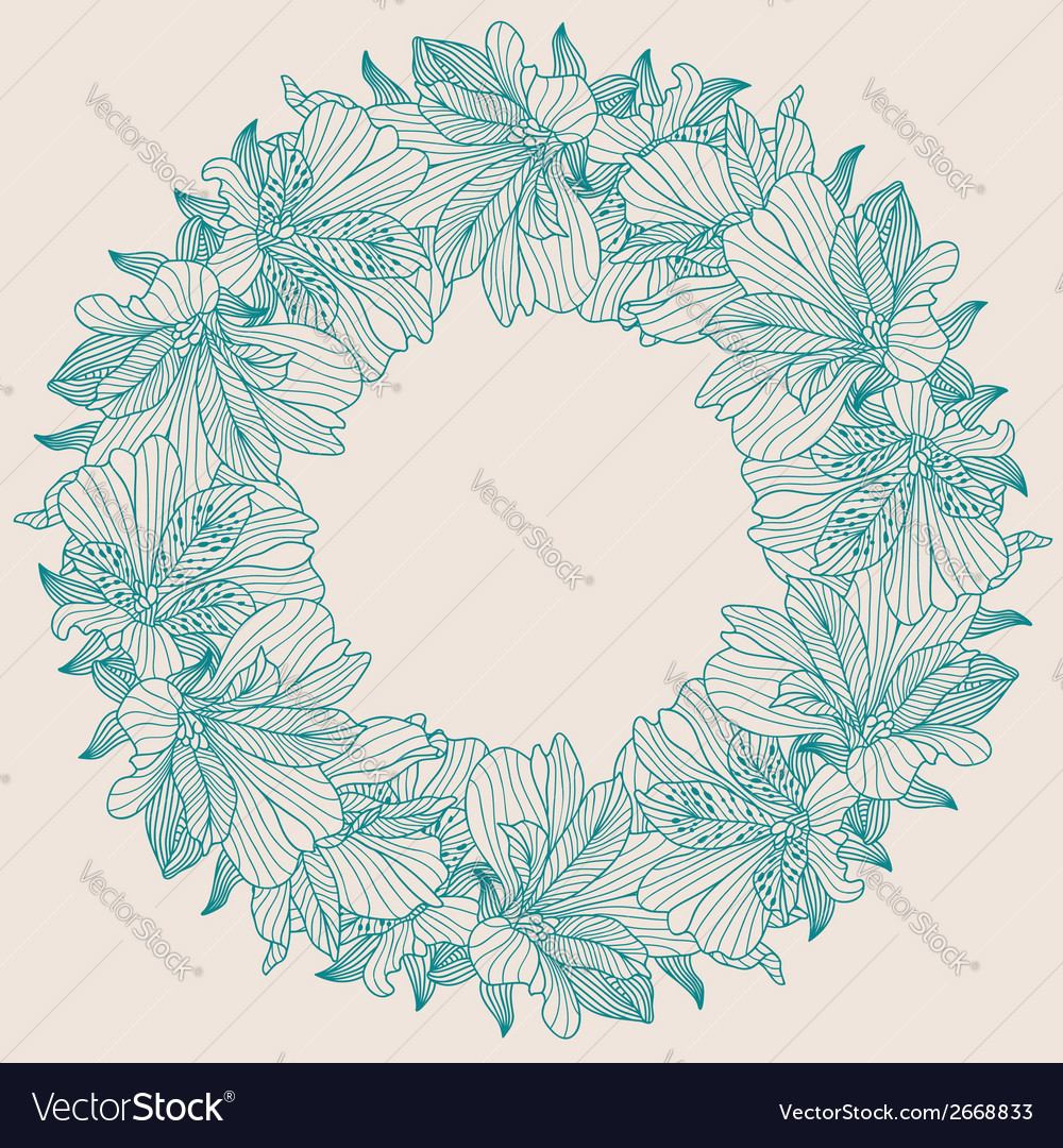 Alstroemeria round frame background vector | Price: 1 Credit (USD $1)