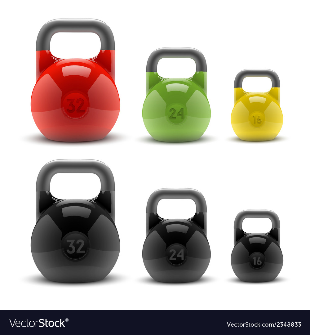 Collection of realistic classic kettlebells vector | Price: 1 Credit (USD $1)