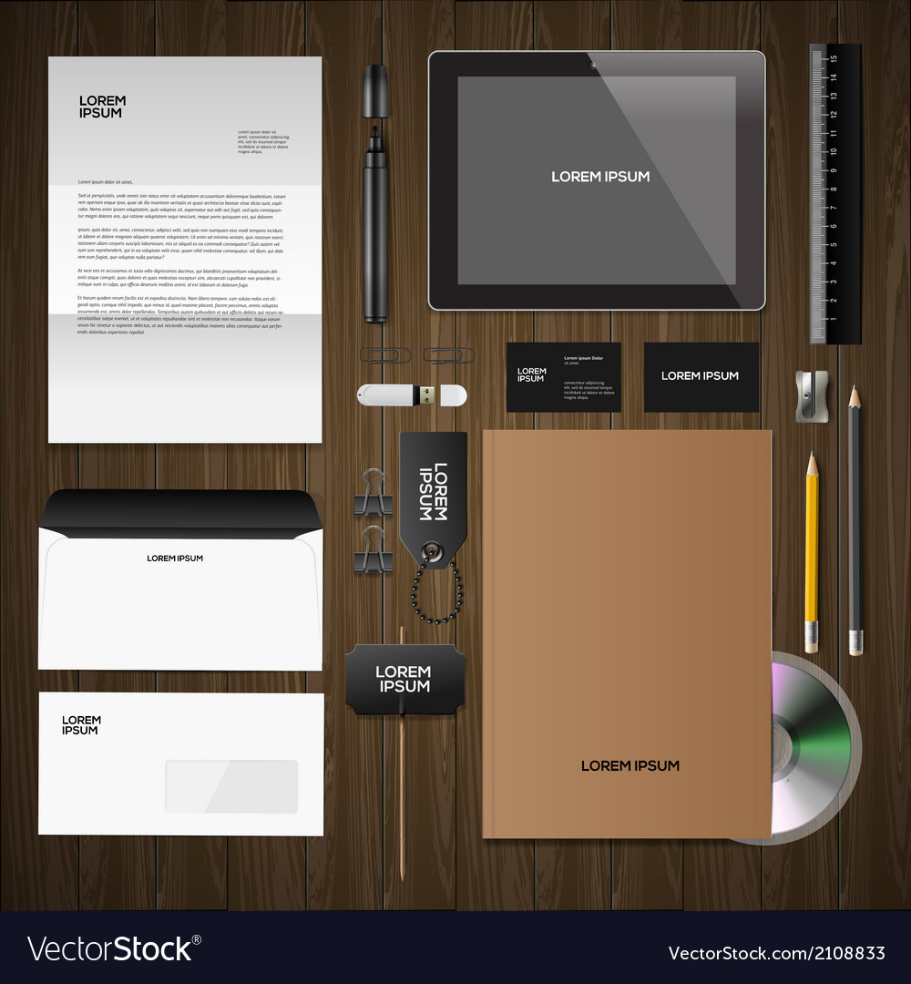 Corporate identity mock-up classic style wooden vector | Price: 1 Credit (USD $1)