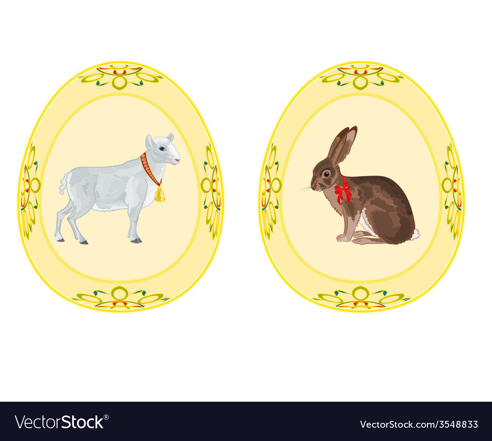 Easter eggs theme bunny lamb vector | Price: 1 Credit (USD $1)