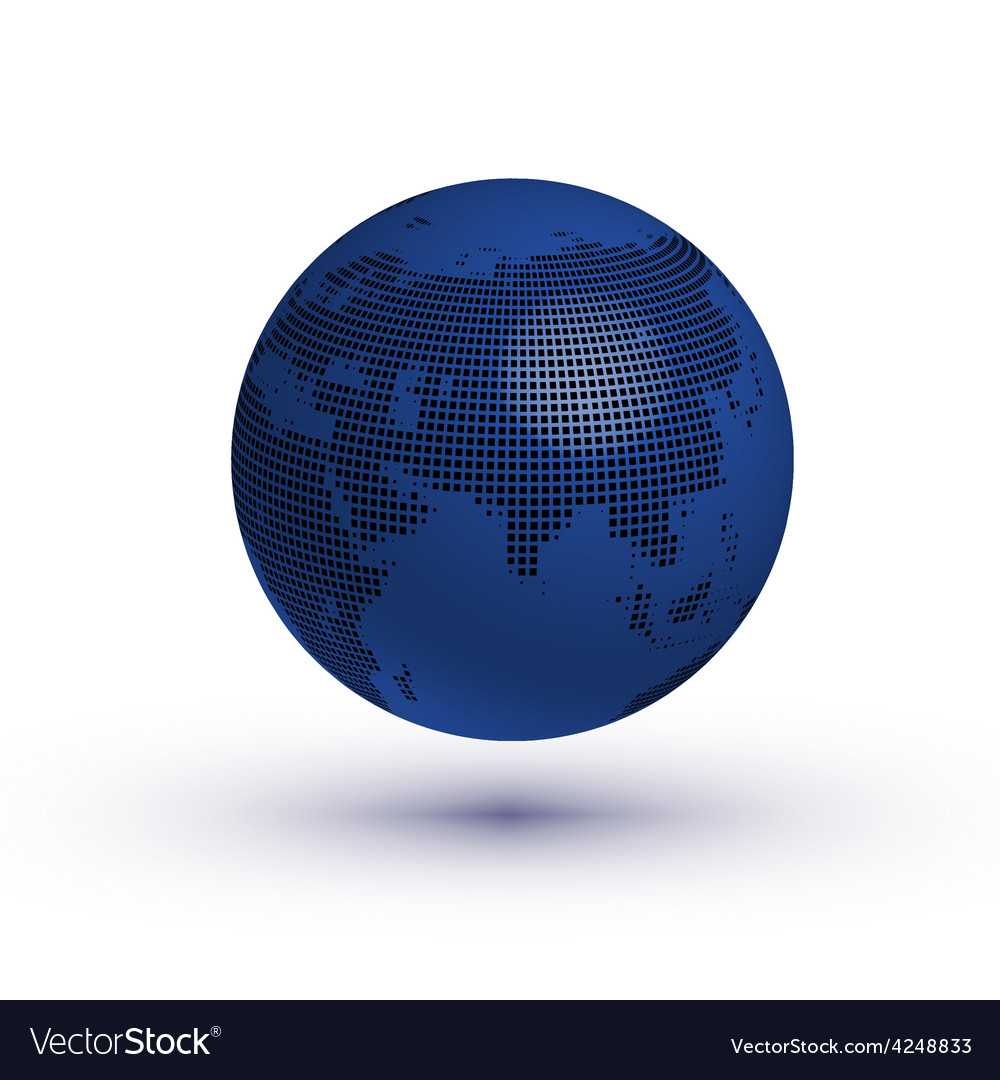 Globe asian view with reflection vector | Price: 1 Credit (USD $1)