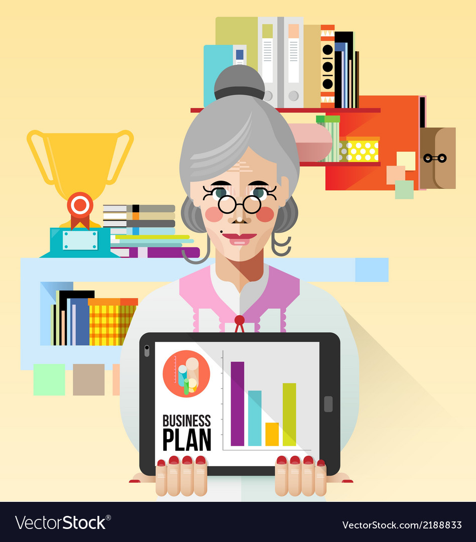 Old business woman with tablet vector | Price: 3 Credit (USD $3)