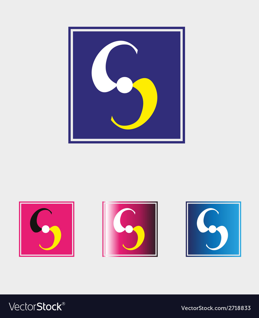 S letter logo with squares icon vector