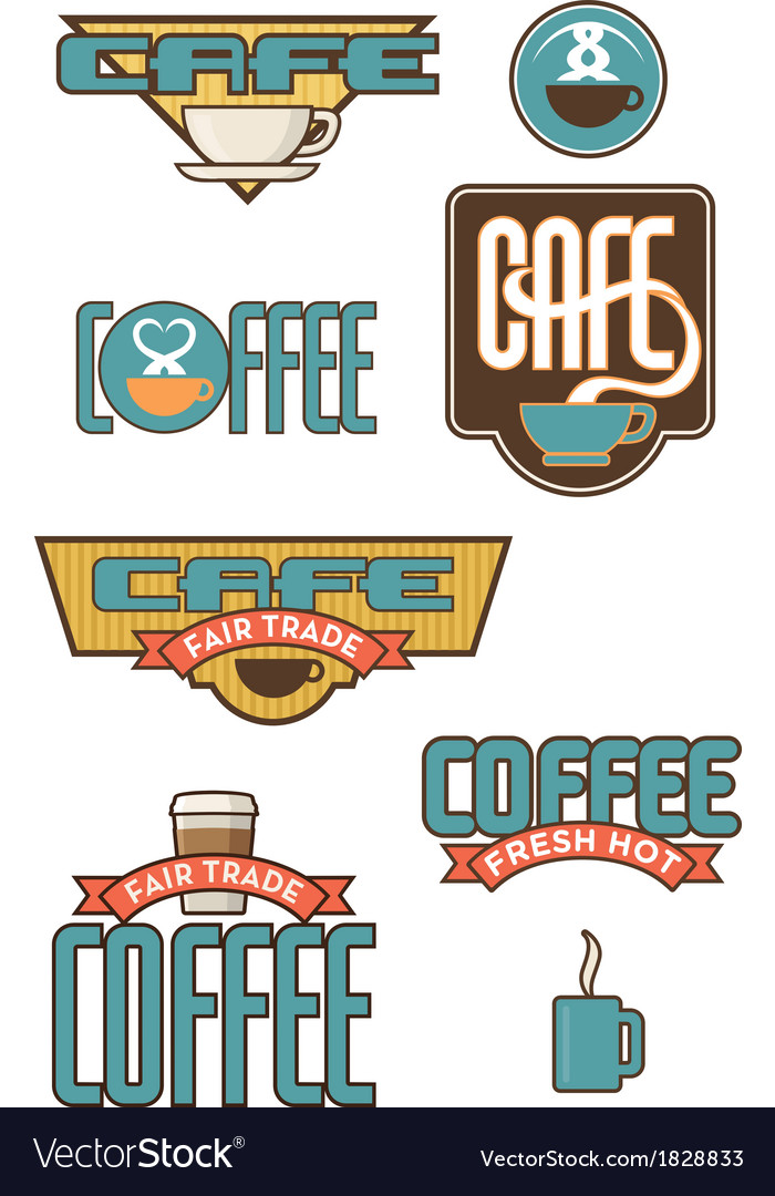 Set of 10 coffee and cafe designs vector | Price: 1 Credit (USD $1)