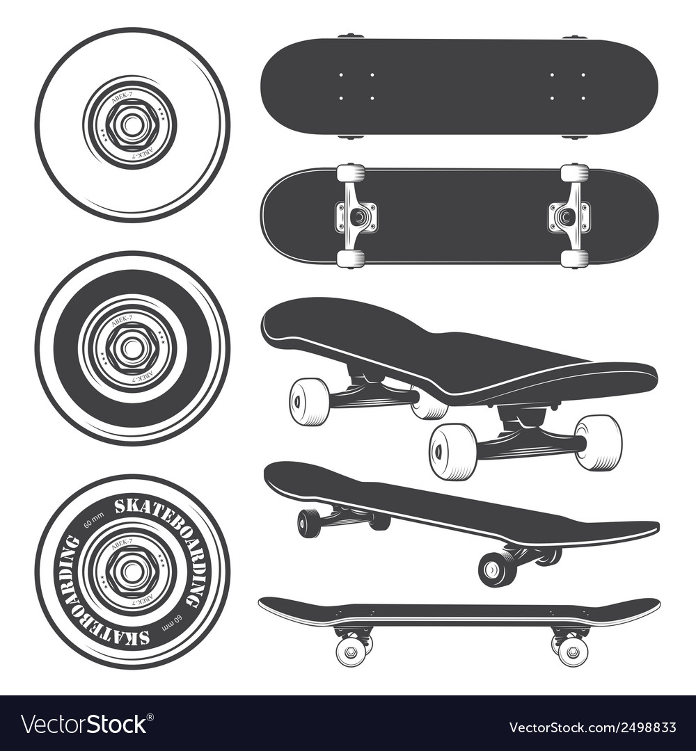 Skateboard set vector | Price: 1 Credit (USD $1)