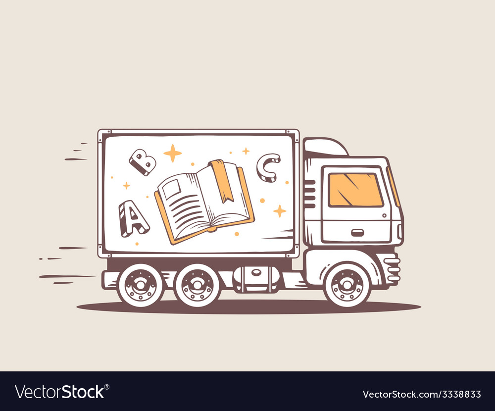 Truck free and fast delivering book to cu vector | Price: 1 Credit (USD $1)