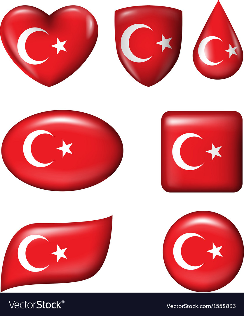 Turkey flag in various shape glossy button vector | Price: 1 Credit (USD $1)