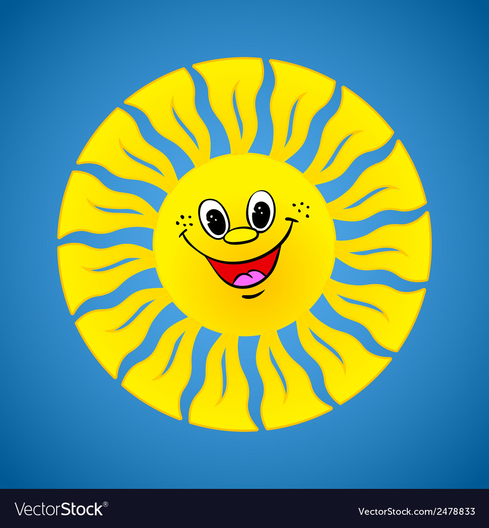 Yellow smiling sun on summer background vector   Price: 1 Credit (USD $1)