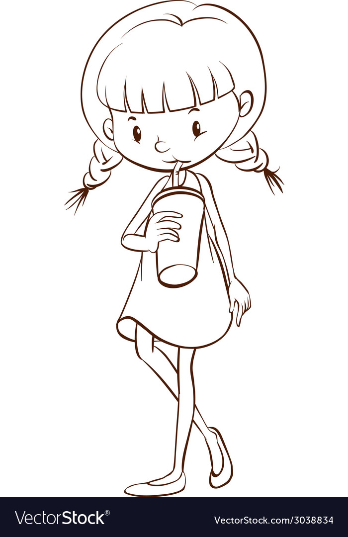 A simple sketch of a young girl drinking vector | Price: 1 Credit (USD $1)