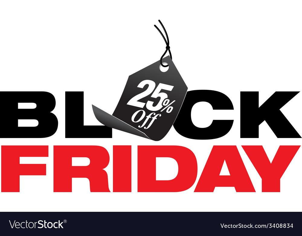 Black friday 25 percent off sale vector | Price: 1 Credit (USD $1)
