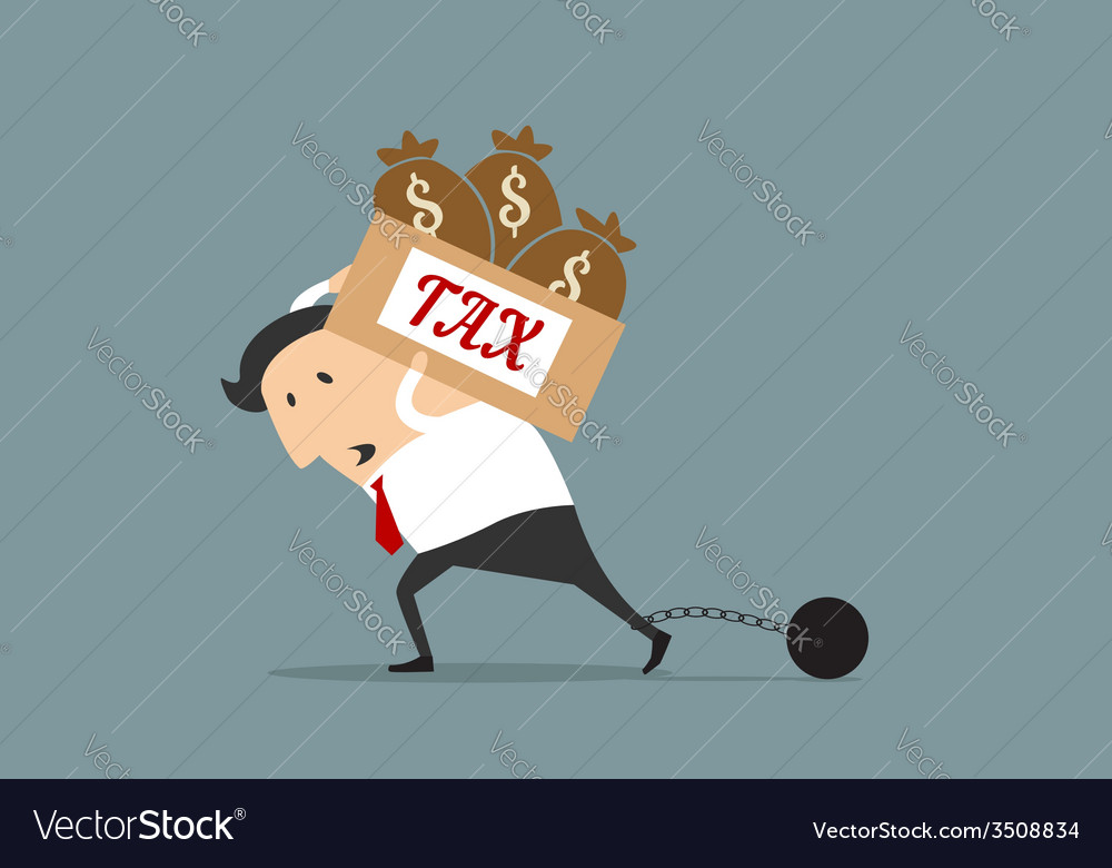 Businessman with heavy tax burden concept vector | Price: 1 Credit (USD $1)