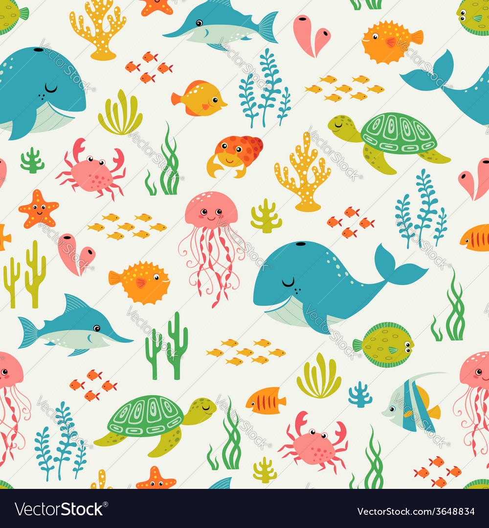 Cute underwater life pattern vector | Price: 1 Credit (USD $1)