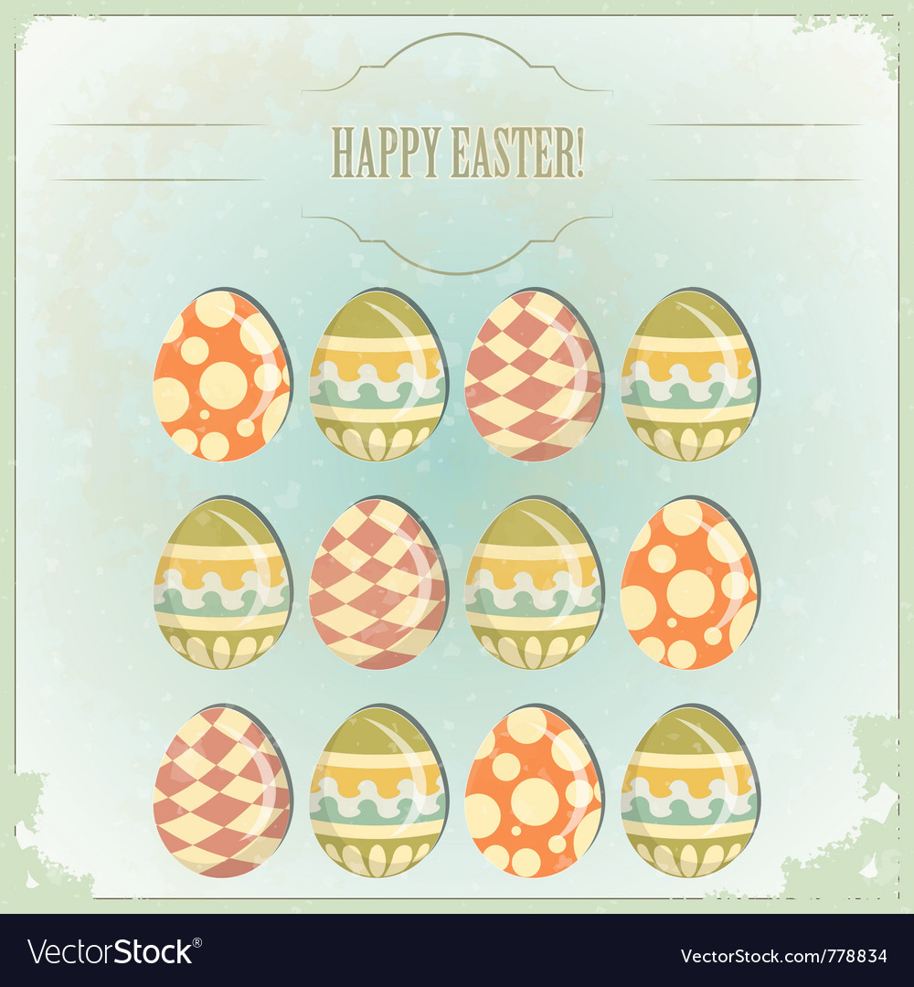 Easter eggs - old postcard vector | Price: 1 Credit (USD $1)