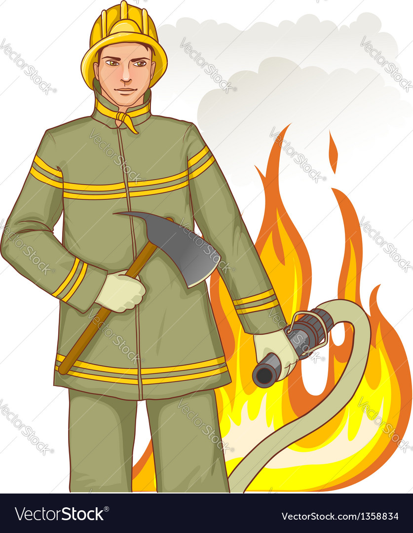 Firefighter with fire hose and axe against a fire vector | Price: 3 Credit (USD $3)