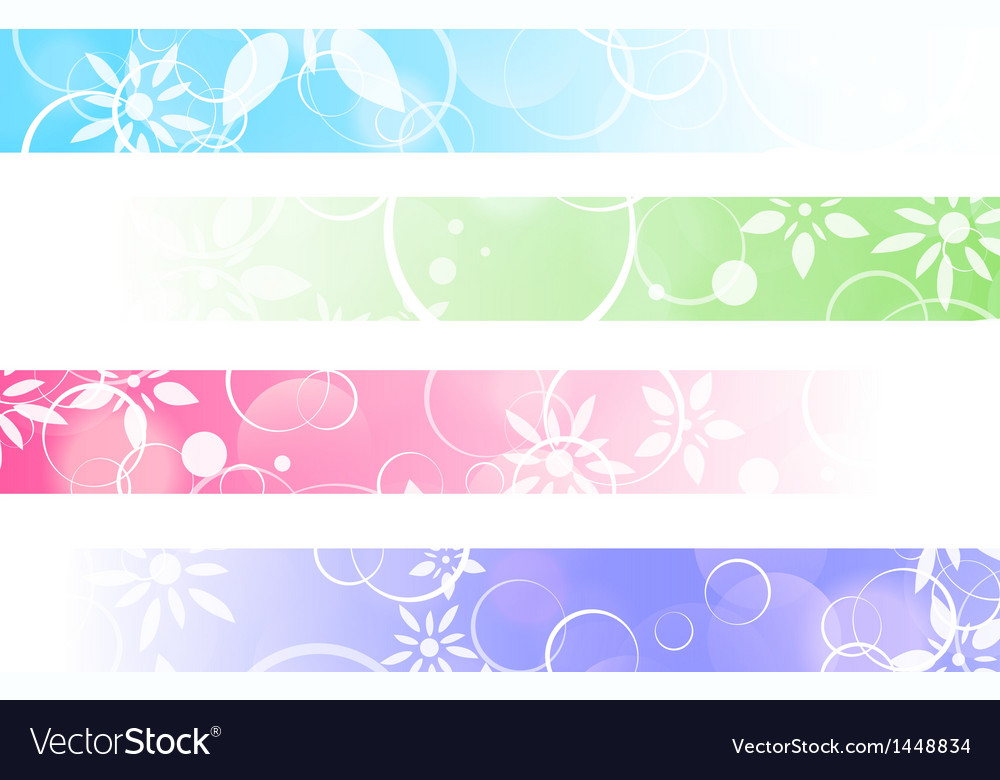 Floral abstract banner set vector | Price: 1 Credit (USD $1)