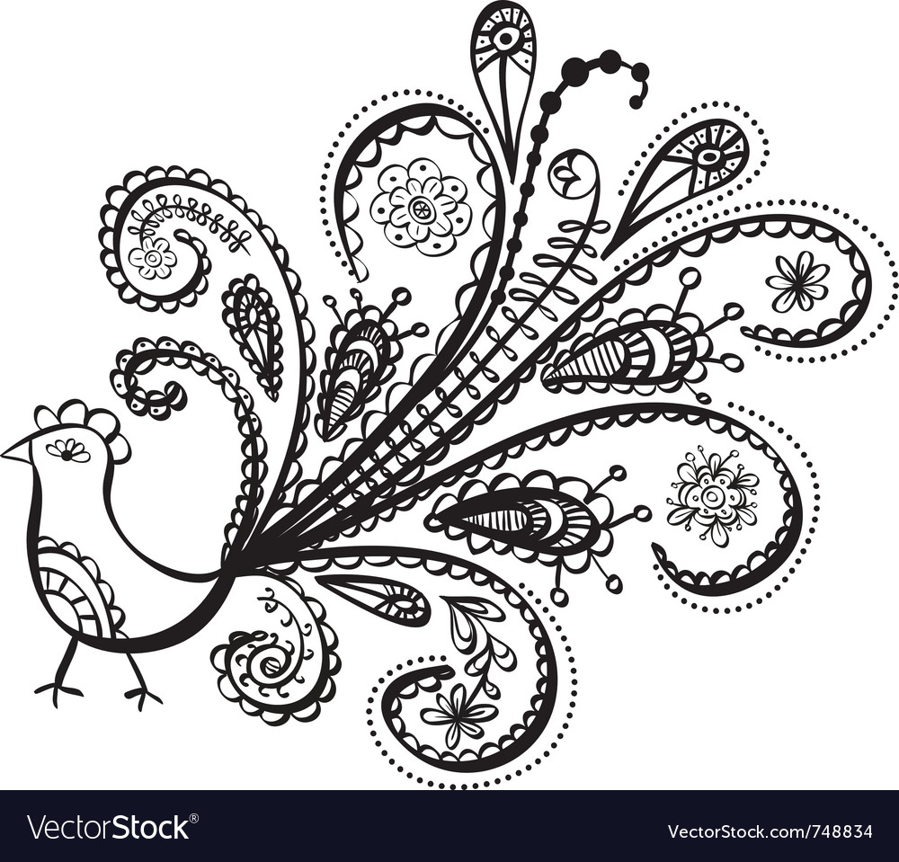 Peacock bird line art vector | Price: 1 Credit (USD $1)