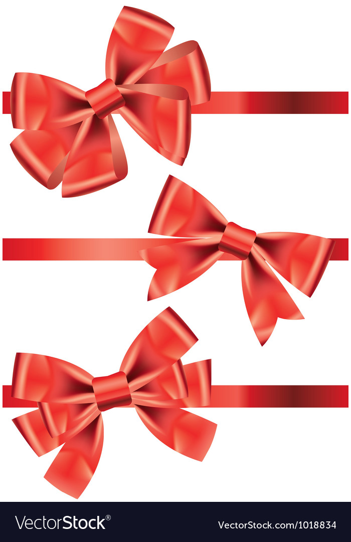 Set of different types of red satin ribbons with vector | Price: 1 Credit (USD $1)