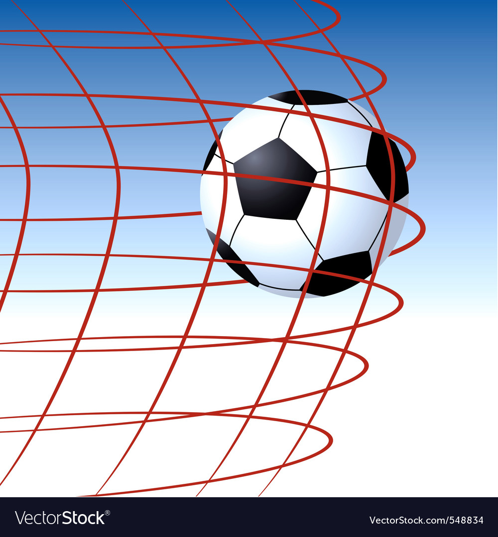 Soccer ball entering the goal and hitting the net vector | Price: 1 Credit (USD $1)