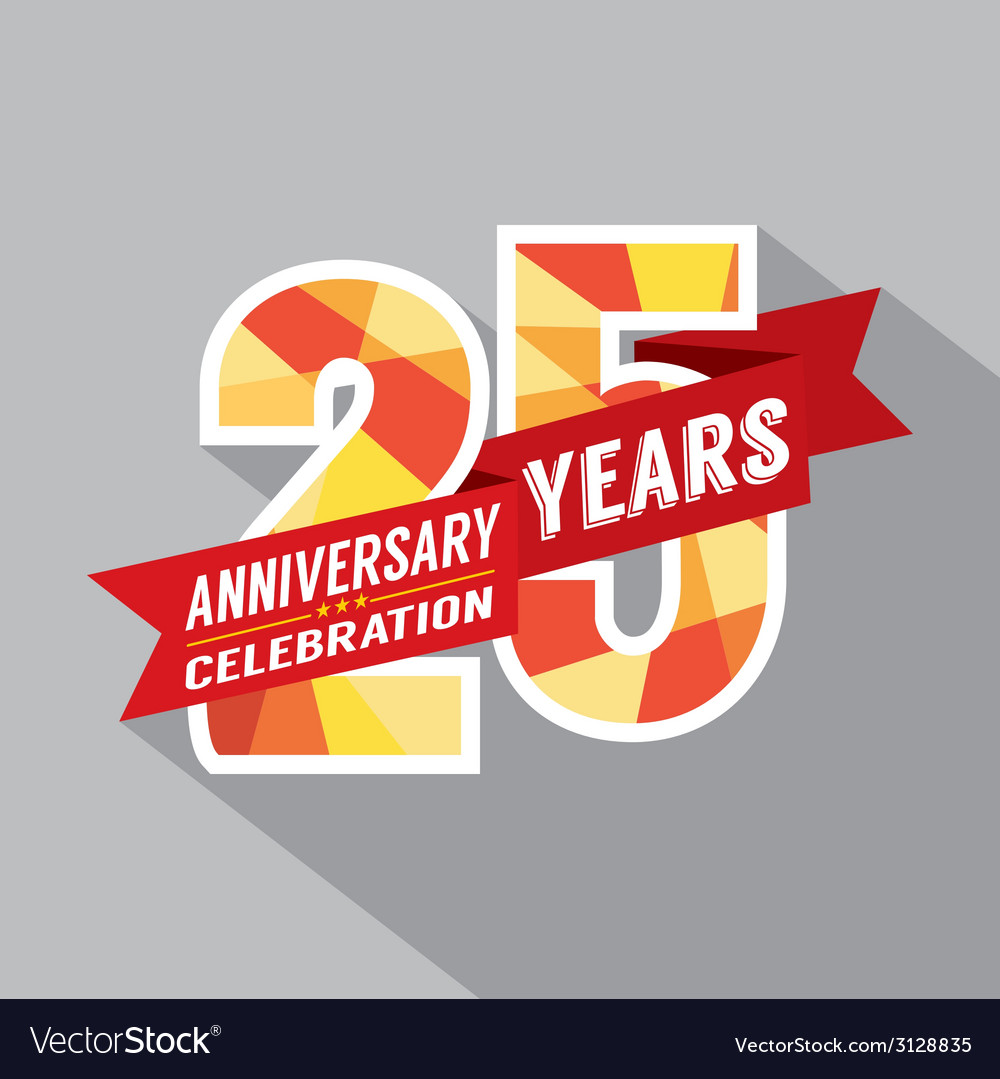 25th years anniversary celebration design vector | Price: 1 Credit (USD $1)