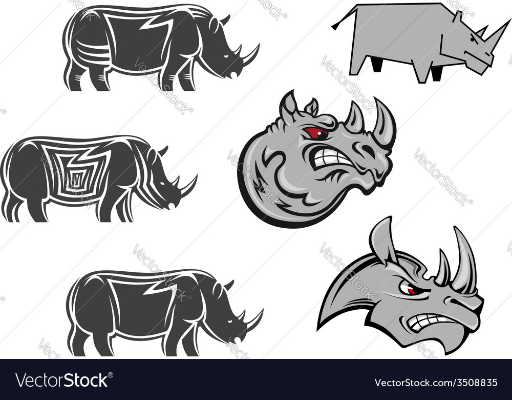 African rhinoceros characters vector | Price: 1 Credit (USD $1)