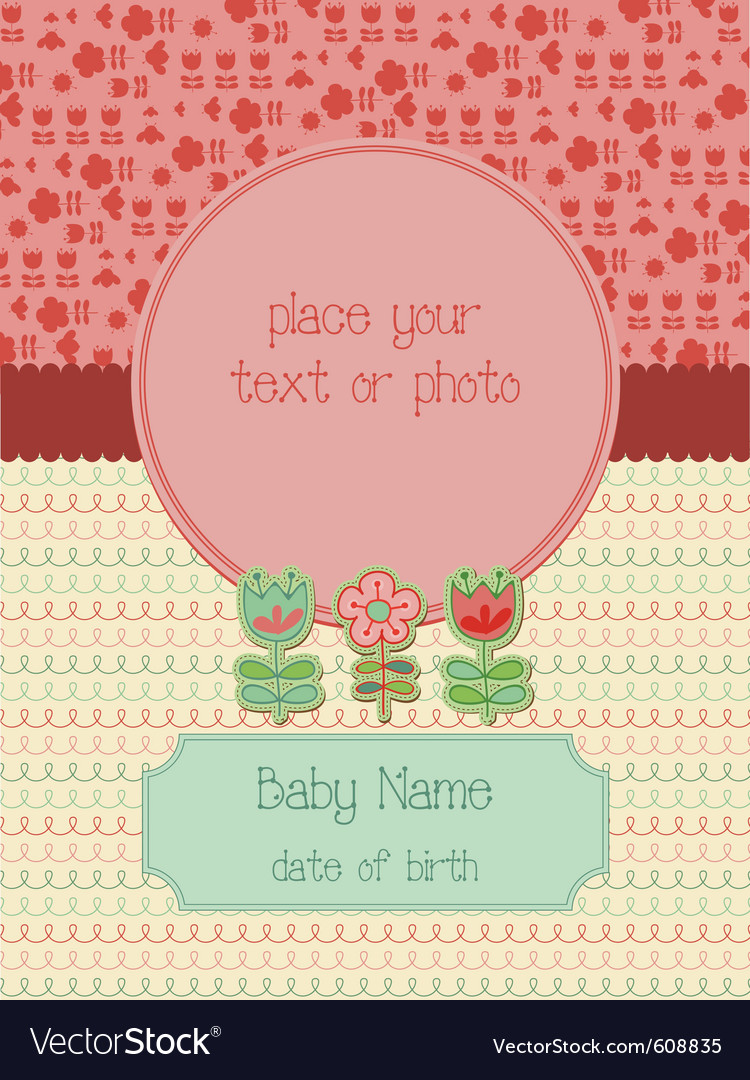 Baby arrival card with photo frame vector | Price: 1 Credit (USD $1)