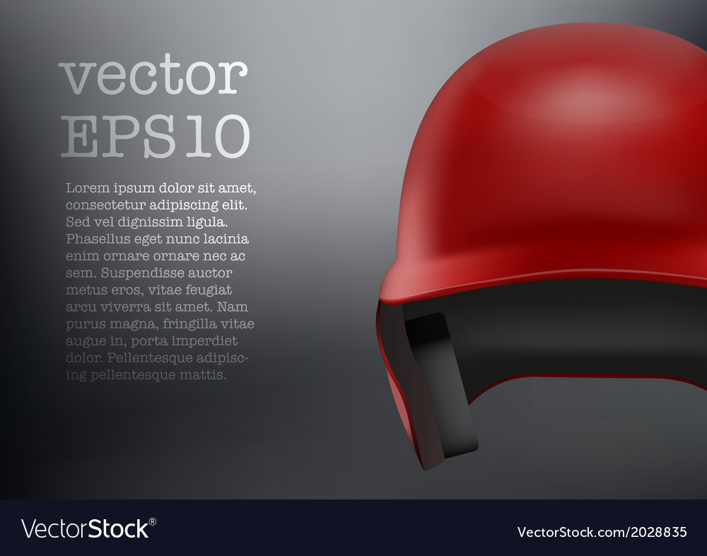 Baseball red helmet front view  isolated vector | Price: 1 Credit (USD $1)