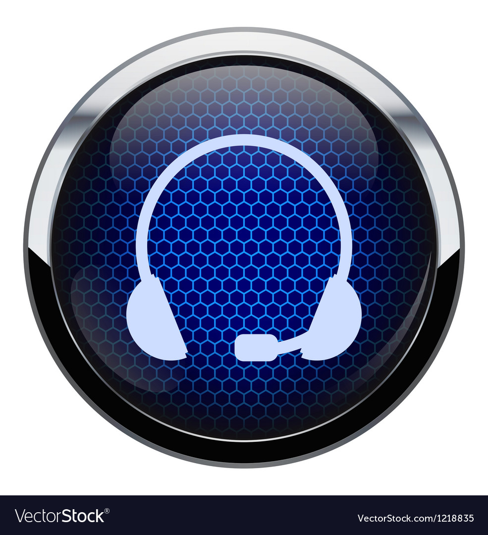 Blue honeycomb headset icon vector | Price: 1 Credit (USD $1)