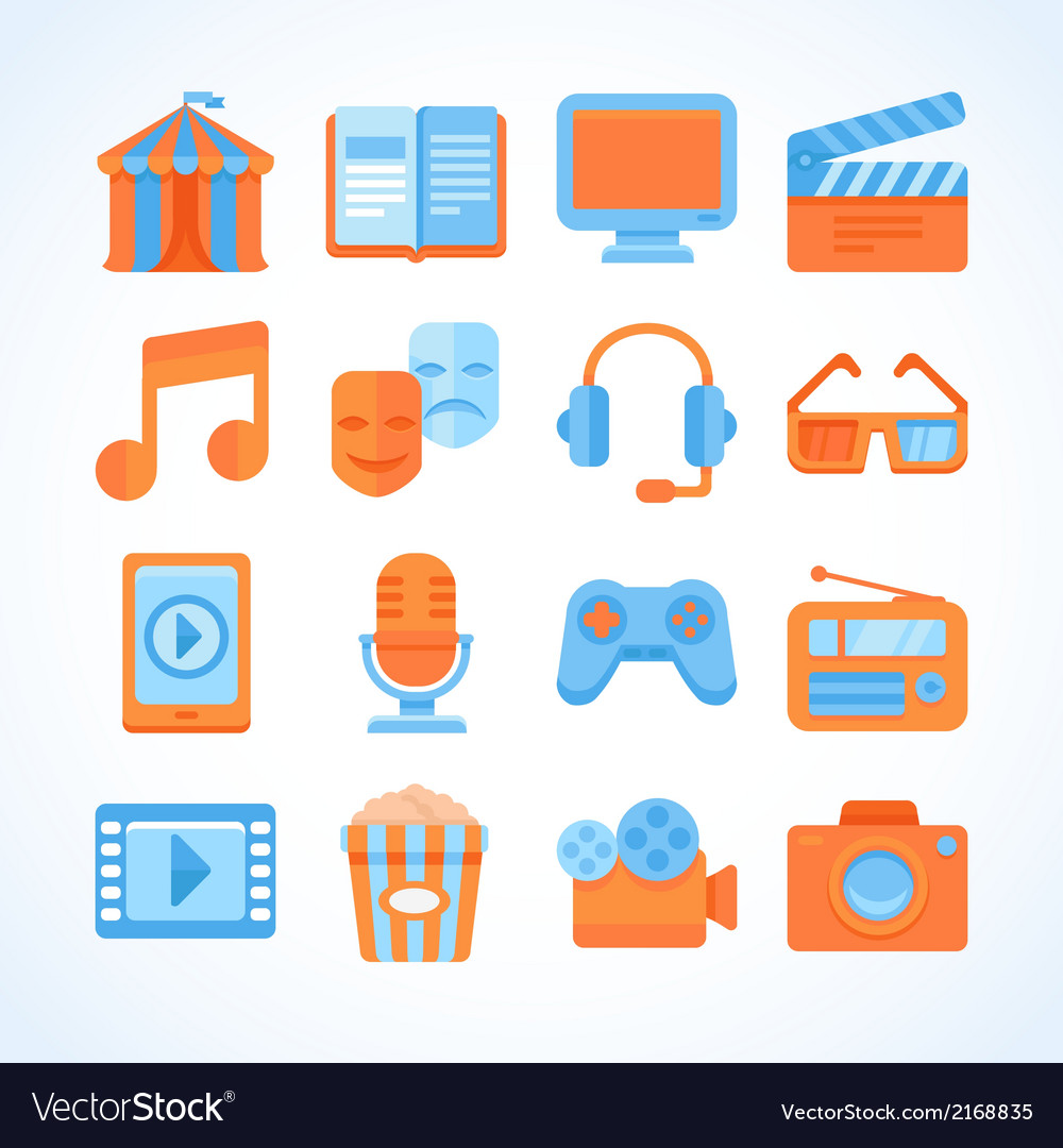Flat icon set of entertainment symbols vector | Price: 1 Credit (USD $1)