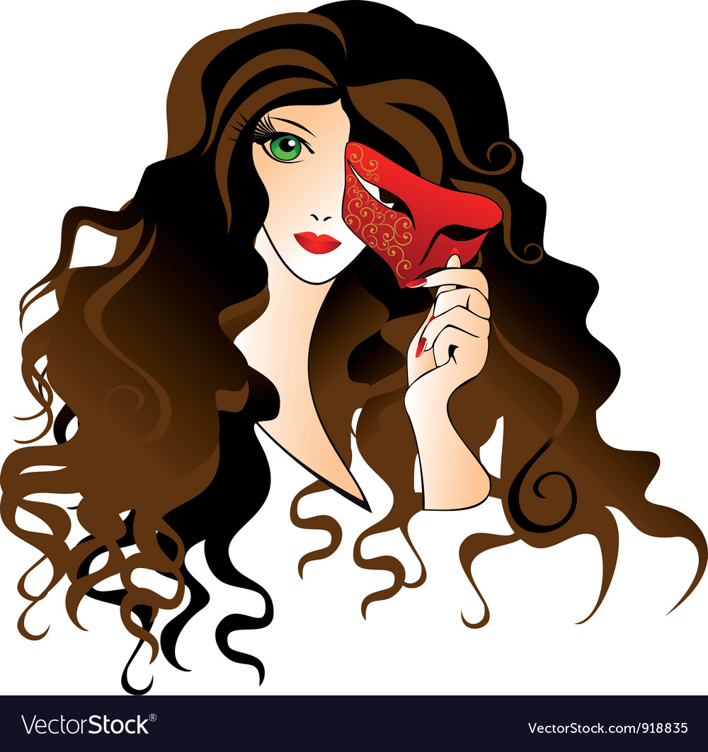 Girl with a carnival mask vector | Price: 1 Credit (USD $1)