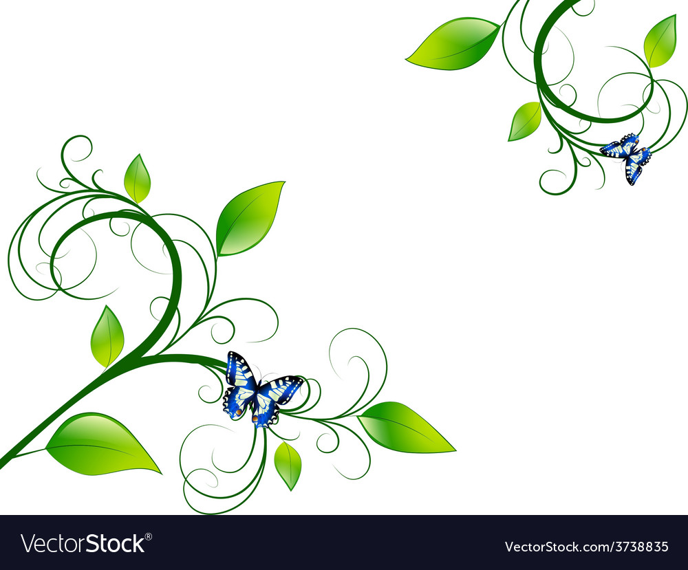 Green floral leaf frame vector | Price: 1 Credit (USD $1)