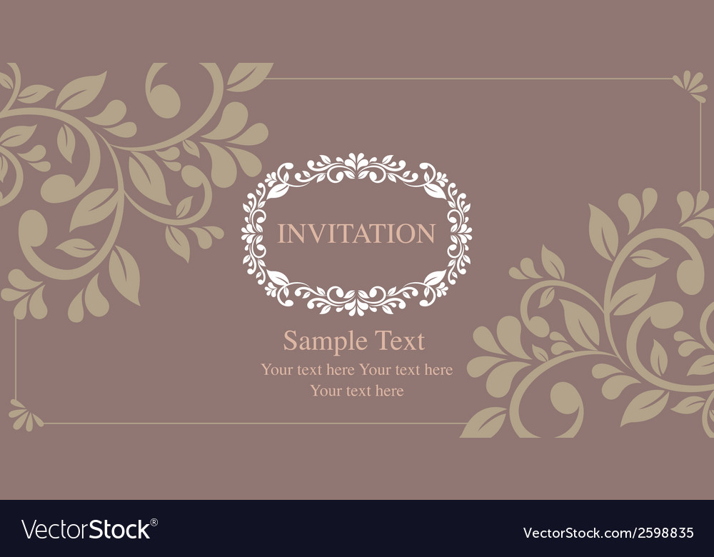 Invitation card vintage style vector | Price: 1 Credit (USD $1)