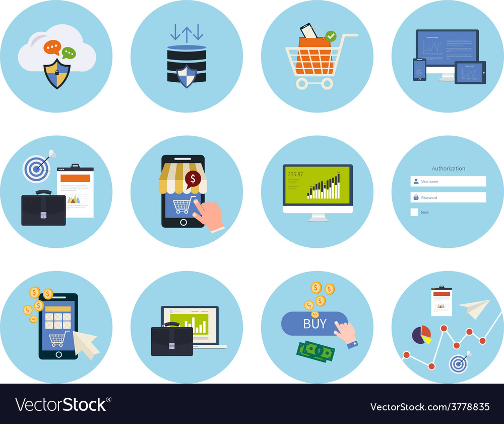 Online shopping elements vector | Price: 1 Credit (USD $1)