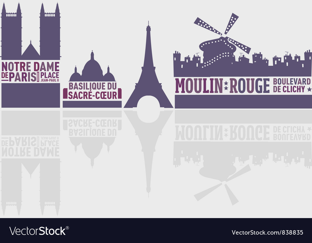 Paris city landmarks vector | Price: 1 Credit (USD $1)