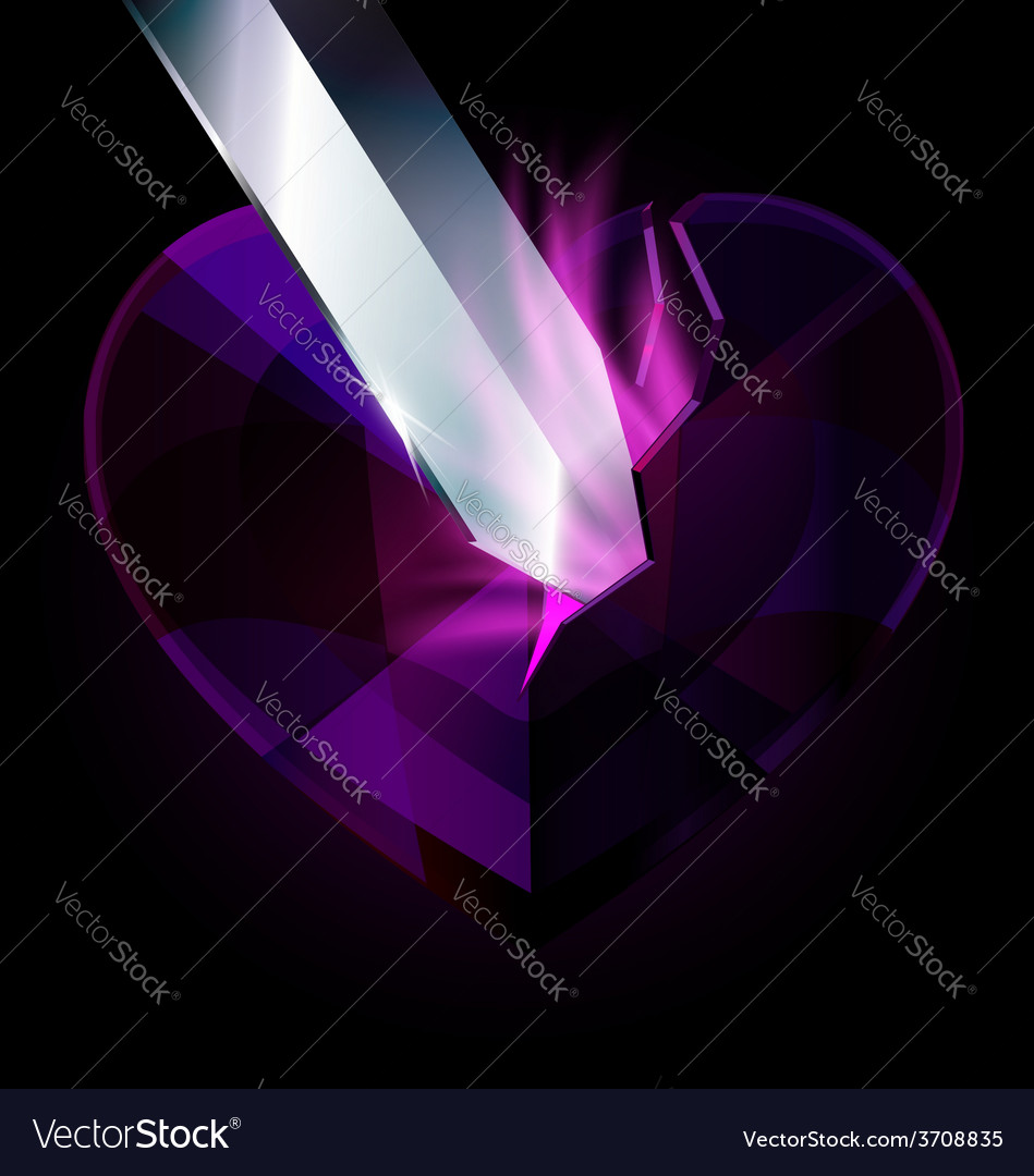 Purple heart-crystal and blade vector | Price: 1 Credit (USD $1)