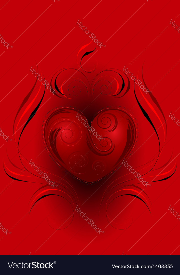 Red heart with decor on red background vector | Price: 1 Credit (USD $1)