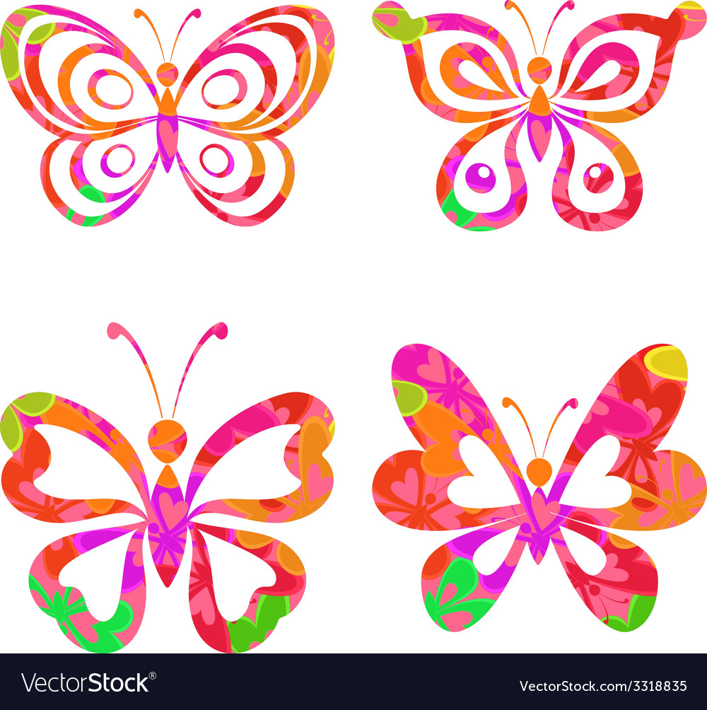 Set butterflies with pattern vector | Price: 1 Credit (USD $1)