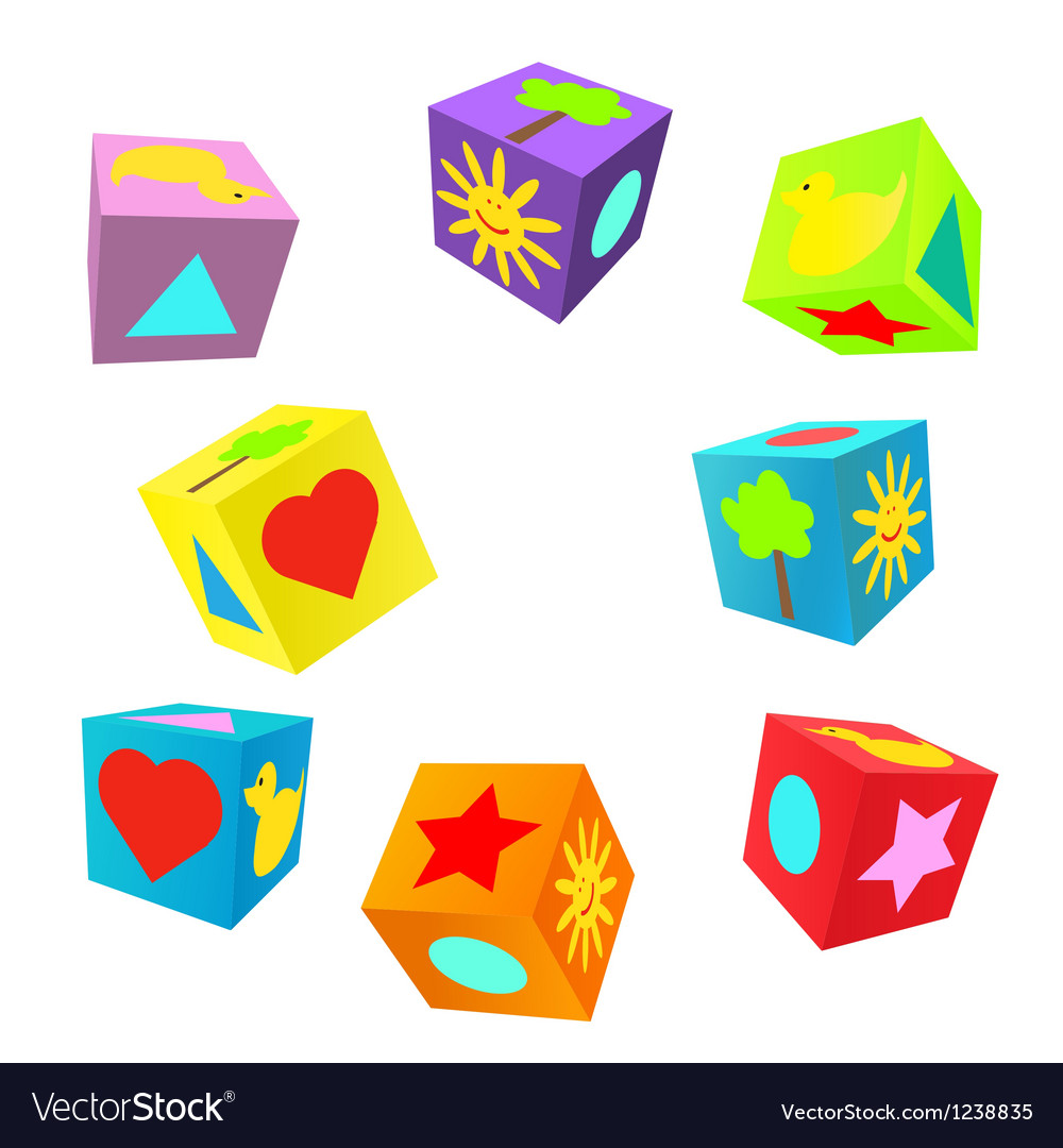 Set of 3d colorful childish play cubes vector | Price: 1 Credit (USD $1)