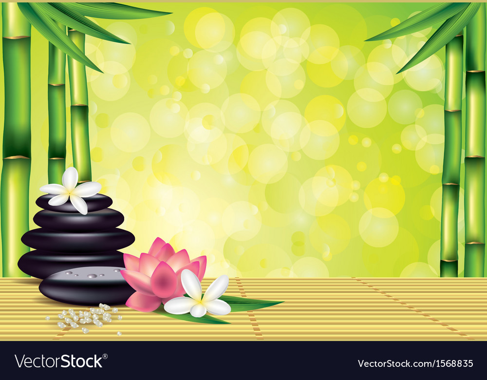 Spa bamboo stones green background vector | Price: 1 Credit (USD $1)