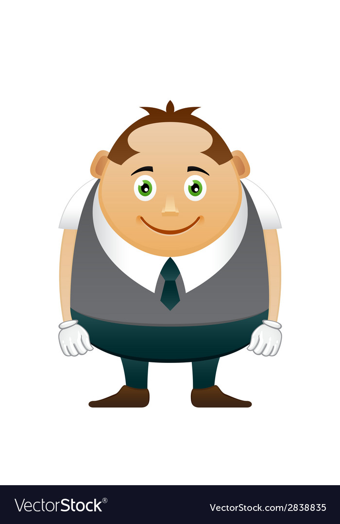 Thick happy office man vector | Price: 1 Credit (USD $1)