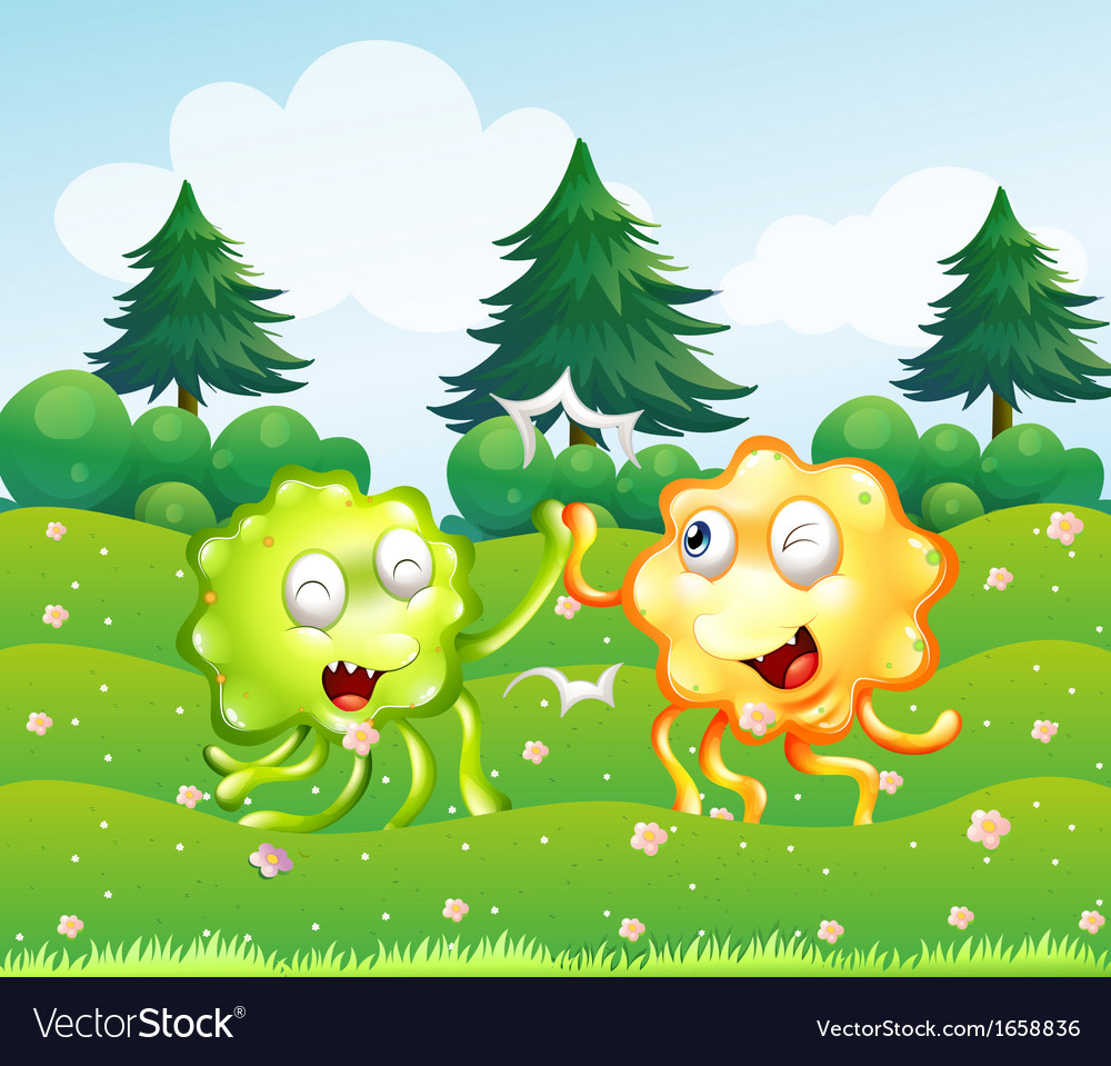 A green and an orange monster near the pine trees vector | Price: 3 Credit (USD $3)