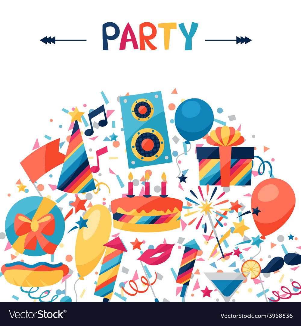 Celebration background with party icons and vector | Price: 1 Credit (USD $1)
