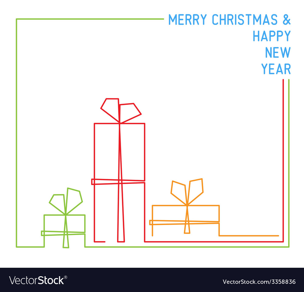 Christmas card - continuous line drawing vector | Price: 1 Credit (USD $1)