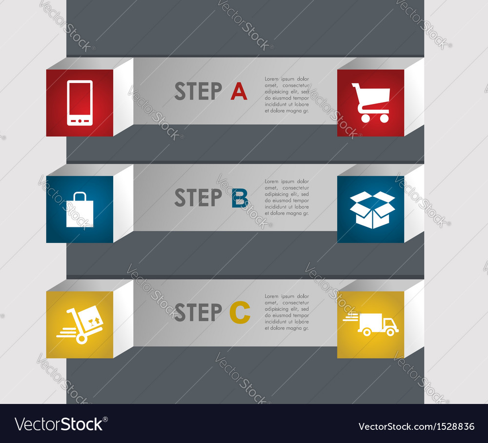 E commerce info graphics steps vector   Price: 1 Credit (USD $1)