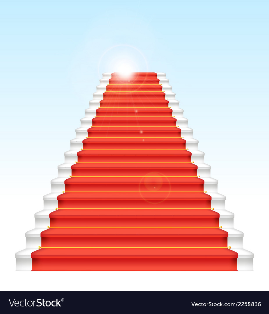 Front staircase and red carpet on blue sky backgro vector | Price: 1 Credit (USD $1)
