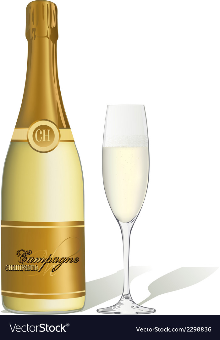 Glass of champagne and bottle isolated vector | Price: 1 Credit (USD $1)